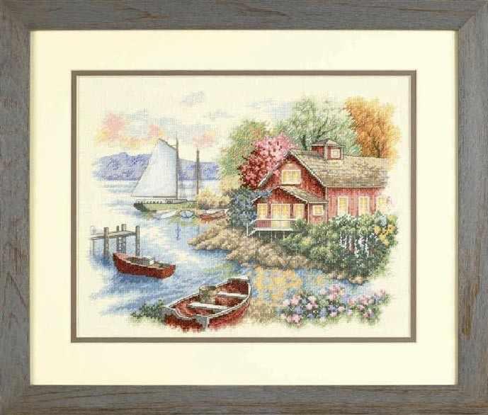 вышивка домики лодки