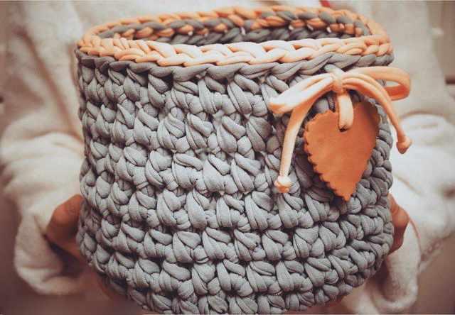 Вязание корзинки из ленточной пряжи 89