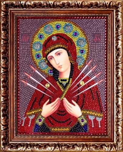 0055 Божией Матери Семистрельная - картина стразами (Преобрана)