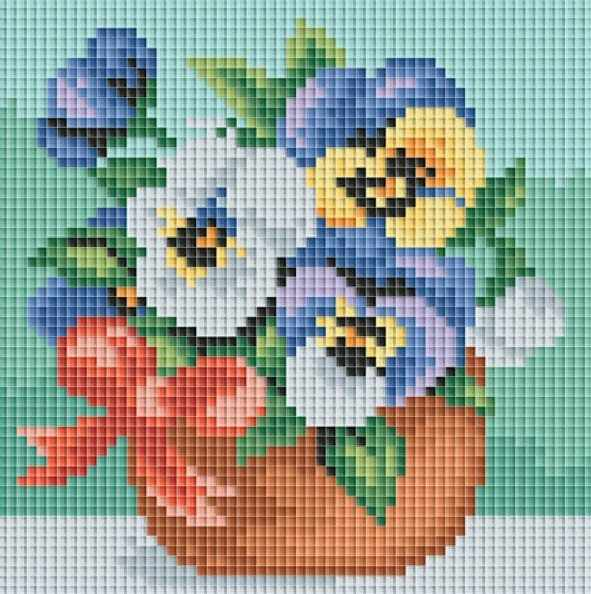 049-ST Веселые цветочки - мозаичная картина (Белоснежка)