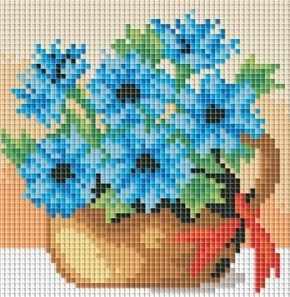 053-ST-PS Полевые васильки- мозаичная картина (Белоснежка)