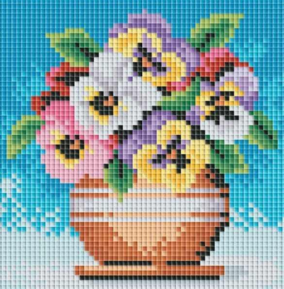 057-ST Цветы в горшочке (Белоснежка)