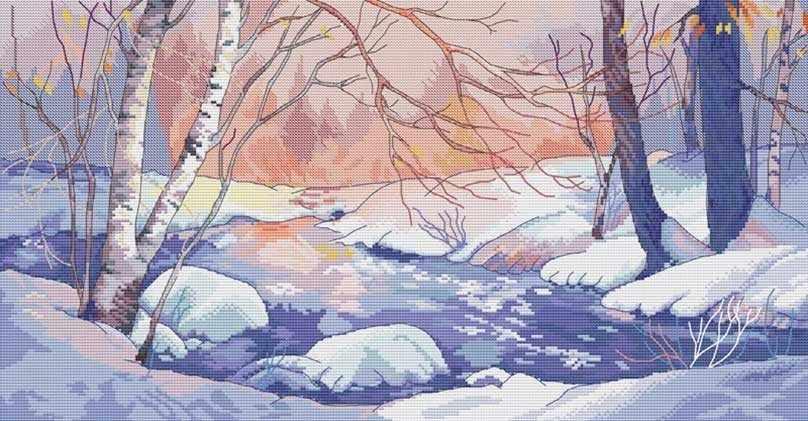 1007-14 Зимний пейзаж (Белоснежка)