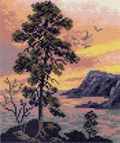 1015 Вечерний пейзаж - рисунок на канве (МП)