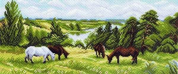 1070 На лугу - рисунок на канве (МП)