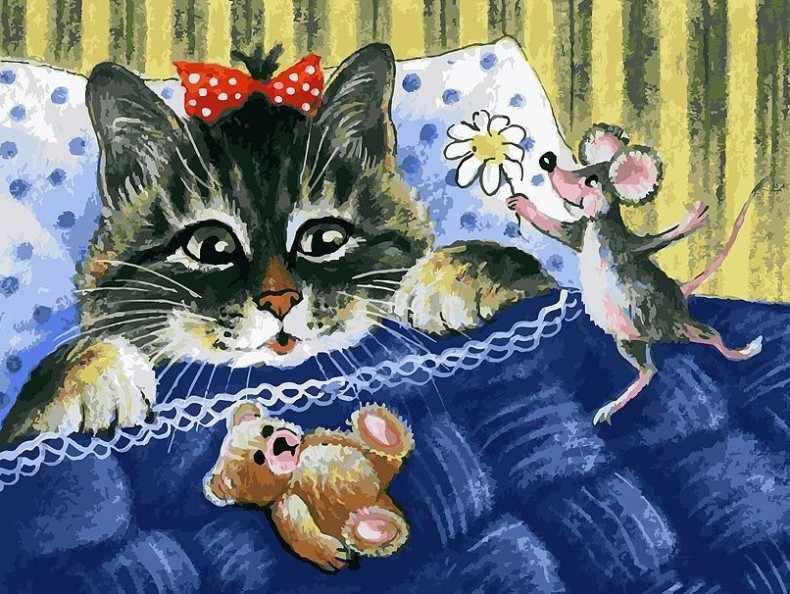 116-AS Кот и мышка - раскраска (Белоснежка)