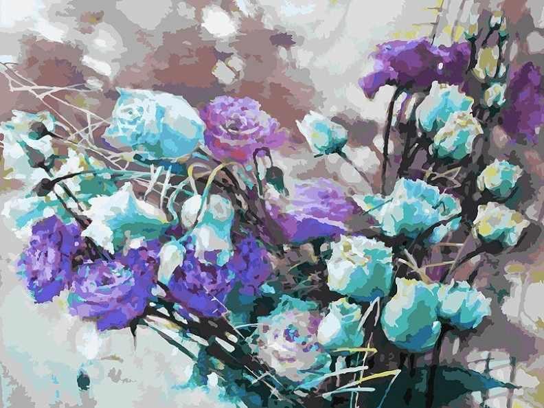 121-AS Ноктюрн с розами - раскраска (Белоснежка)