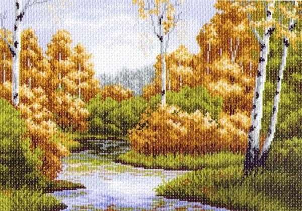 1234 Осенняя заводь - рисунок на канве (МП)