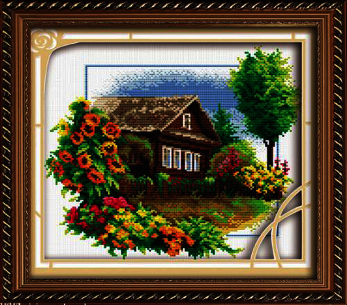 130074 Cottage with flowers