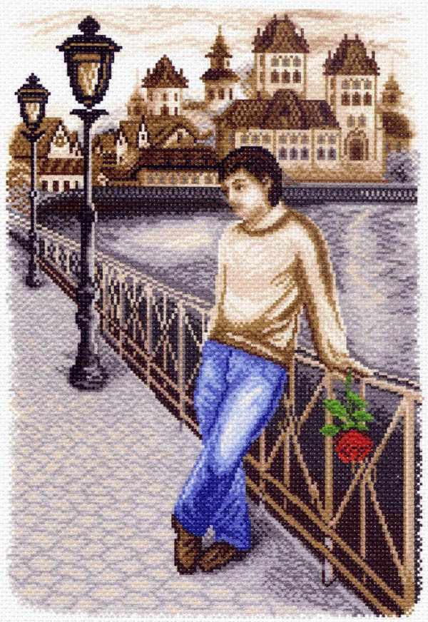1450 На вечерней набережной - рисунок на канве (МП)