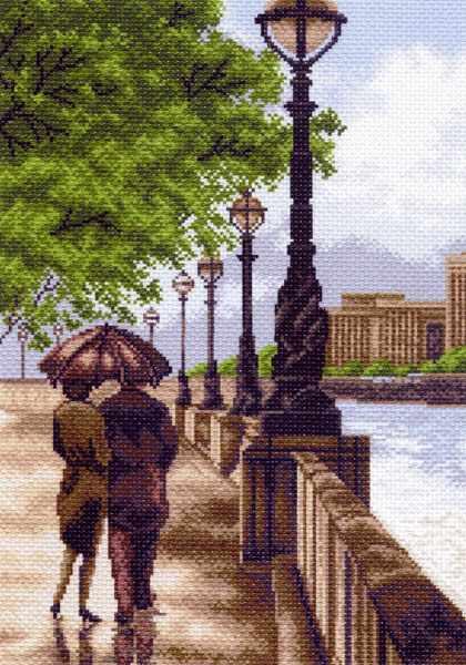 1459 Двое на набережной - рисунок на канве (МП)