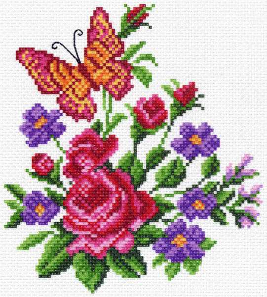 1478 Цветы и бабочка - рисунок на канве (МП)