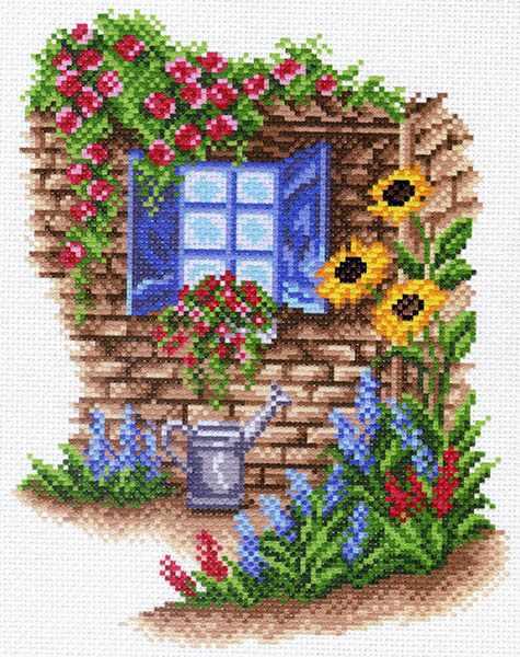 1481 Окно в сад рисунок на канве (МП)