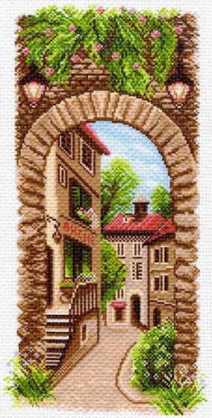 1499 По узким улочкам - рисунок на канве (МП)