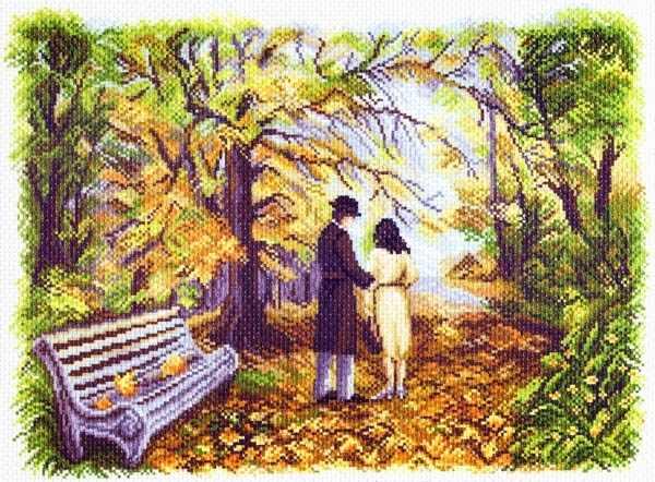 1502 Двое в парке - рисунок на канве (МП)