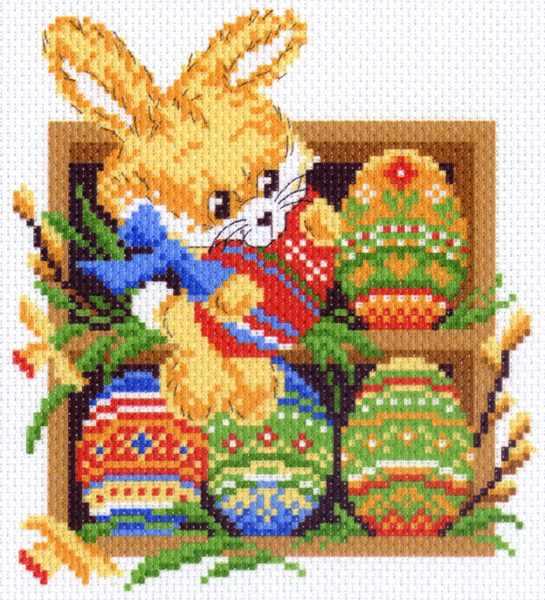 1546 Заяц на полочке - рисунок на канве (МП)
