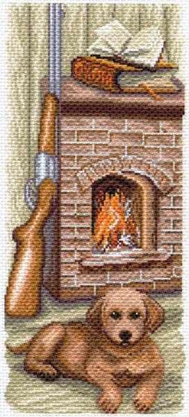 1619 Щенок у камина -  рисунок на канве (МП)