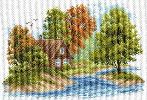 1653 Пейзаж с домиком - рисунок на канве (МП)