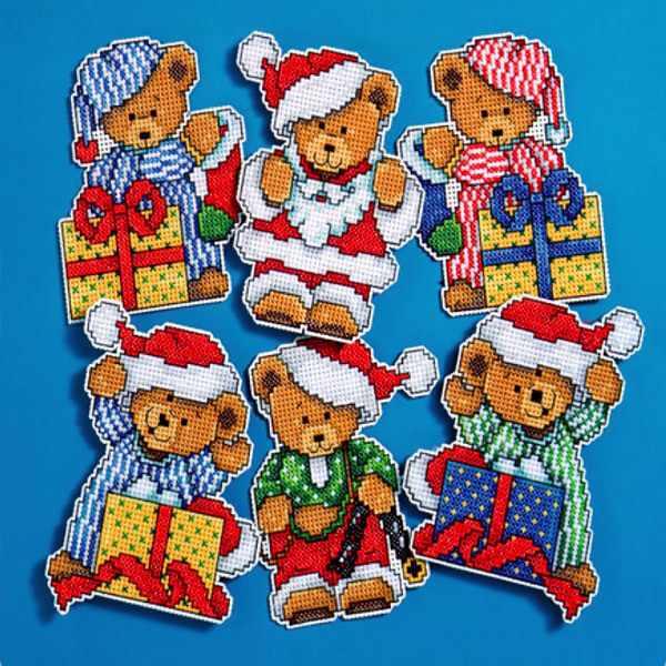 """1653 Комплект рождественских игрушек """"Рождественские мишки"""", 6 шт. (Design Works)"""