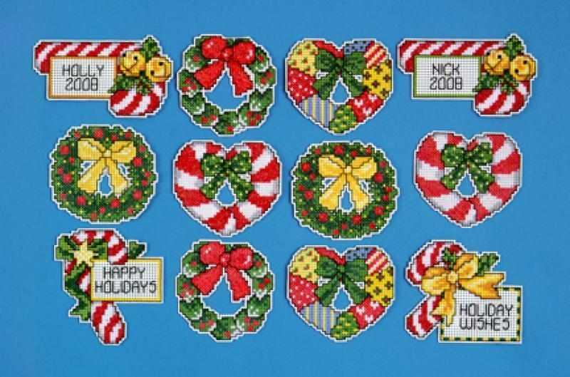 """1659 Комплект рождественских игрушек """"Карамельки и венки"""", 12 шт. (Design Works)"""