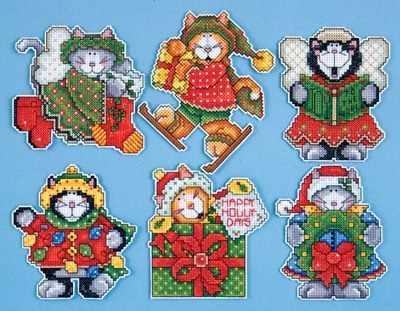"""1667 Комплект рождественских игрушек """"Коты-1"""", 6 шт. (Design Works)"""