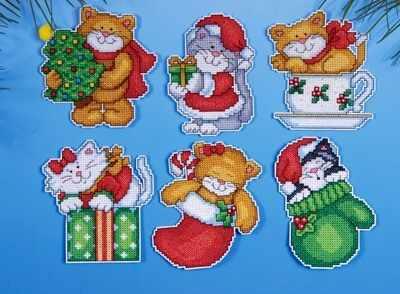 """1681 Комплект рождественских игрушек """"Коты-2"""", 6 шт. (Design Works)"""