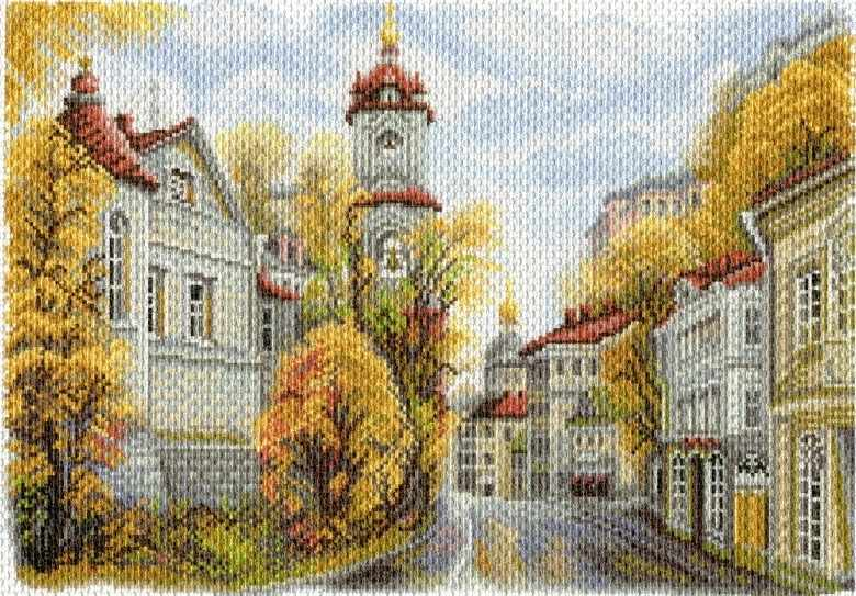 1758 Московские улочки. Улица Рождественка - рисунок на канве (МП)