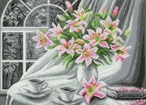 1787 Белоснежное утро - рисунок на канве (МП)