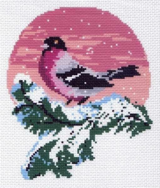 194 Снегирь - рисунок на канве (МП)