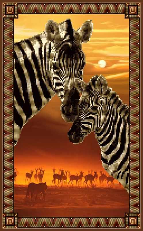 1Нбис-031арт Закат в савнне (Серия африканские сюжеты) - набор