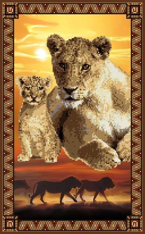1Нбис-034арт Львы (Серия африканские сюжеты) - набор