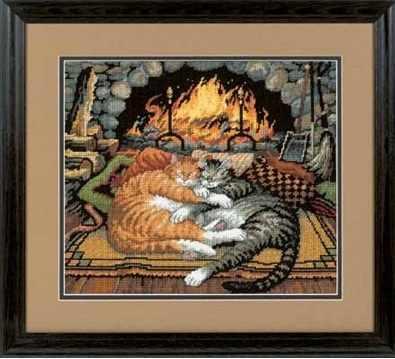 20007-DMS Кошки у камина