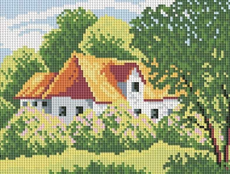 202-ST Сельская усадьба - мозаичная картина (Белоснежка)