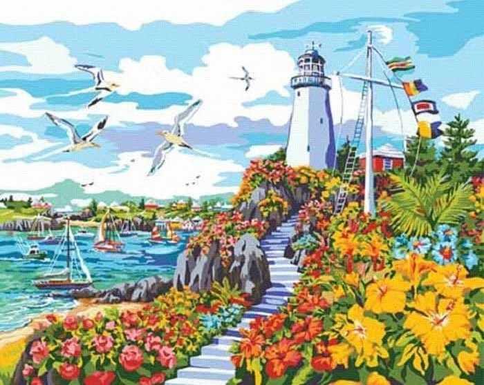 """22044-PLD """"Рай на побережье"""" - раскраска"""