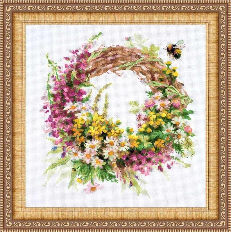 Вышивка венков из цветов 164