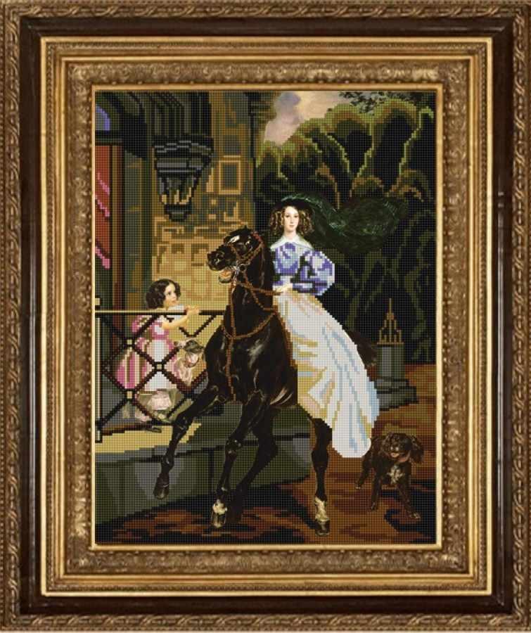 Всадница картина брюллова вышивка крестом 85