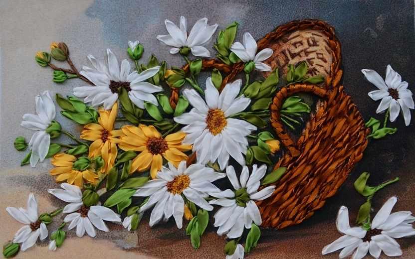 Вышивка корзина с ромашками