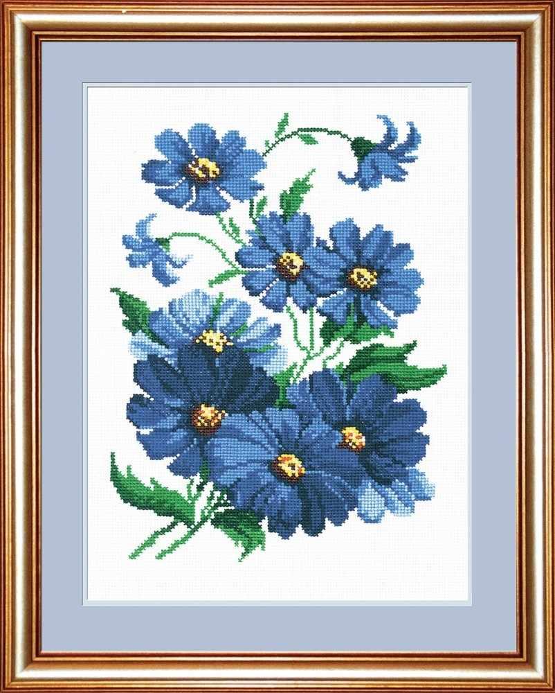 Вышивка крестом набор синих цветов