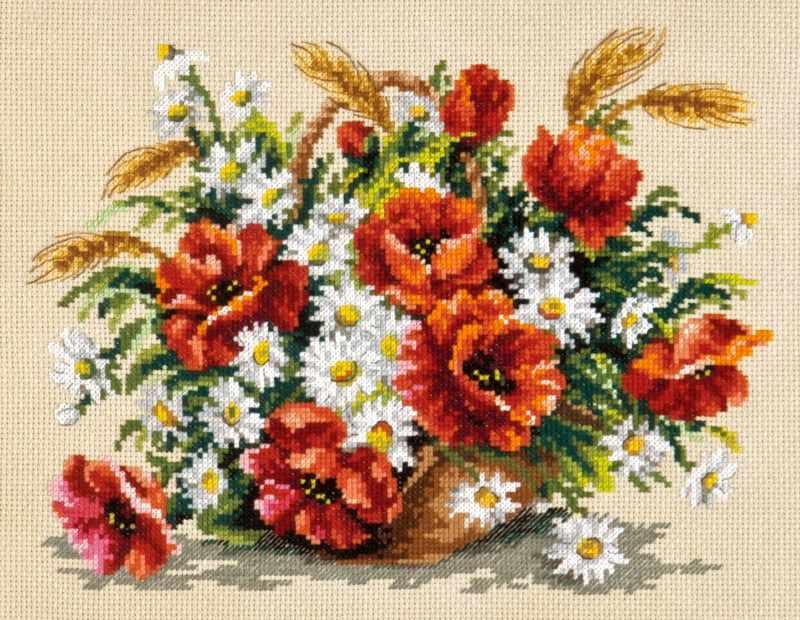 Вышивка цветов и букетов крестиком 994