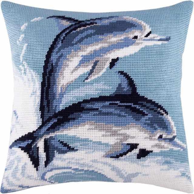 Вышивка дельфины гладью 57