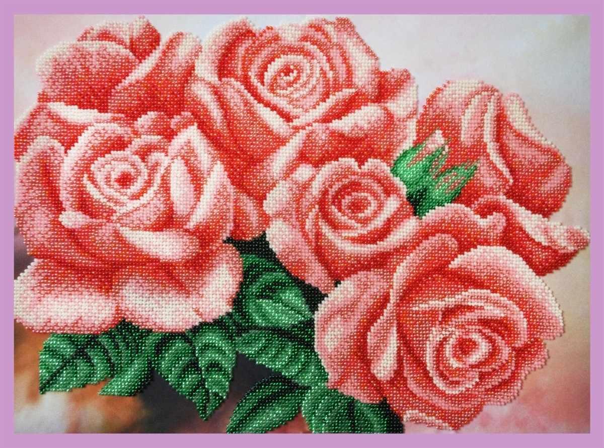 Розовые розы наборы для вышивки