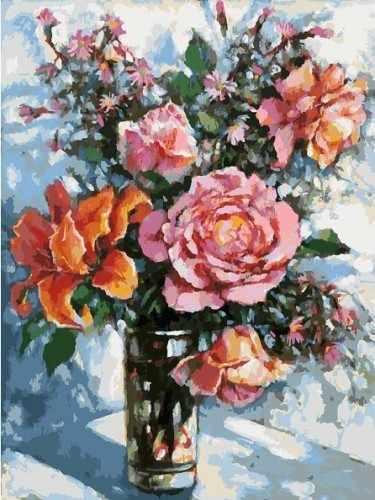 3021-CS Натюрморт с розами - раскраска (Белоснежка)