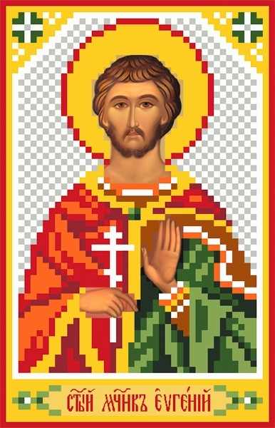3040 Св.Евгений - рисунок на шелке (МП)