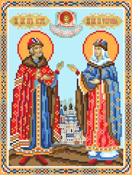 3047 Петр и Февронья - рисунок на шёлке (МП)