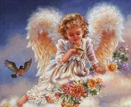 3990-14 Ангел с птичками  (Белоснежка)