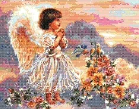 4004-14 Ангел с цветами (Белоснежка)