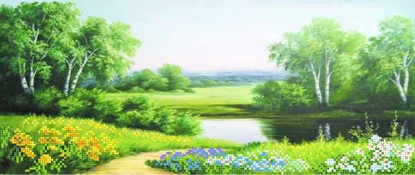 4022 У реки - рисунок на шелке (МП)