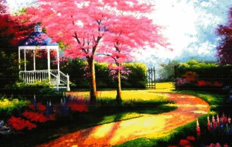 4036-14 Беседка в саду (Белоснежка)