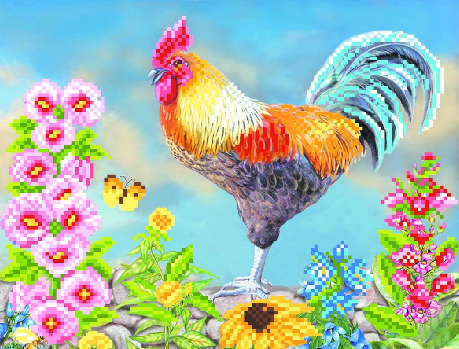 4059 Кукареку - рисунок на шелке (МП)