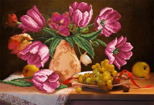 4069 Тюльпаны - рисунок на шёлке (МП)